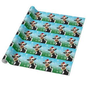 Moooootiful Christmas Cow Santa Hat Wrapping Paper