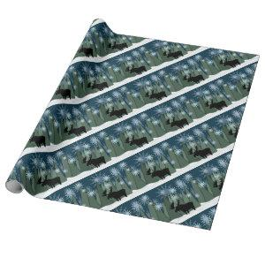 Moose in Snowflake Forest Wrapping Paper