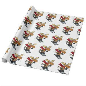 Moose skier cartoon | choose background color wrapping paper