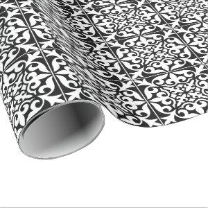 Moroccan tile - black with white background wrapping paper