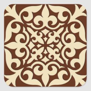 Moroccan tile - chocolate brown and beige square sticker
