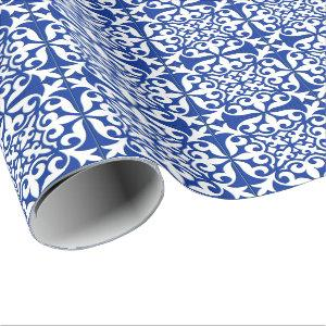 Moroccan tile - cobalt blue and white wrapping paper