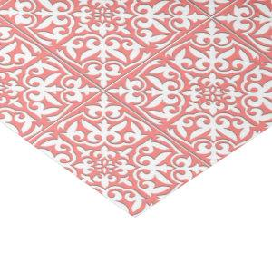 Moroccan tile - coral pink and white tissue paper