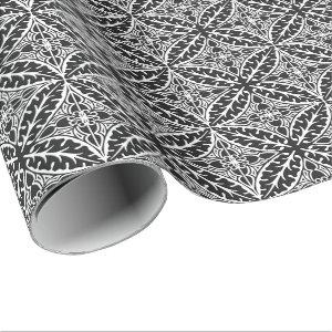 Moroccan tiles - black and white wrapping paper