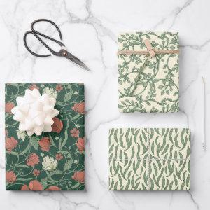 Morris Park Red and Green Floral Demask  Sheets