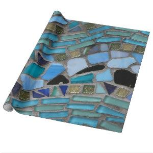 mosaic colored glass stone art wrapping paper