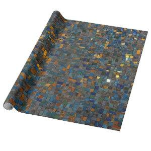 Mosaic Stones in Blue and Gold Wrapping Paper