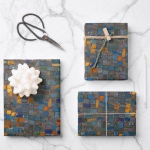 Mosaic Stones in Blue and Gold  Sheets