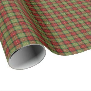 Moss Green and Red Rustic Christmas Plaid Pattern Wrapping Paper