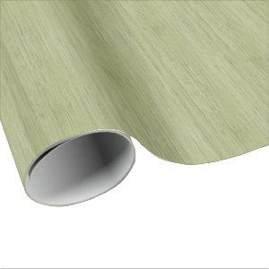 Moss Green Bamboo Wood Grain Look Wrapping Paper