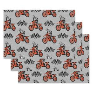 Motorcyclist Motocross Lovers Racing Flags Wrapping Paper Sheets