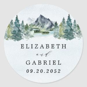Mountain Watercolor Elegant Rustic Themed Wedding Classic Round Sticker