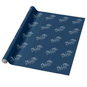 Mr & Mrs Wedding Favor Solid Color Navy Blue Wrapping Paper