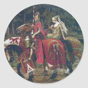 Mucha knight lady painting horses forest romantic classic round sticker