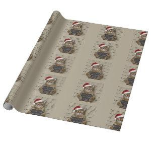 Mugshot Cat Christmas Wrapping Paper