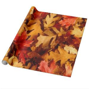Multicolored Autumn Oak Leaves Wrapping Paper