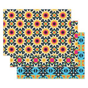 Multicolored Cute Stylish Trendy Patterns Wrapping Paper Sheets