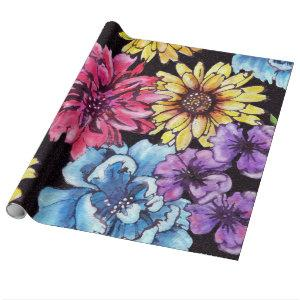 Multicolored watercolor flower bouquet wrapping paper