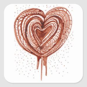 Muscular Pump heart drawing Square Sticker