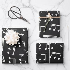 Music Notes Pattern in Black and White Wrapping Paper Sheets