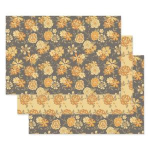 Mustard Orange Flowers Green Vines Floral Patterns Wrapping Paper Sheets