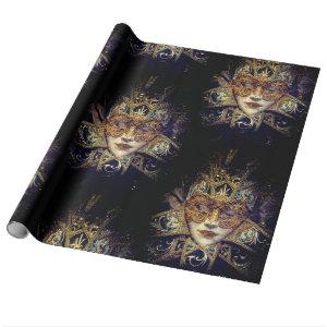 Mysterious masquerade ball beauty mask wrapping paper