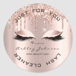 Name Beauty Lshes Drips Pink Gold Lashes Cleaner Classic Round Sticker