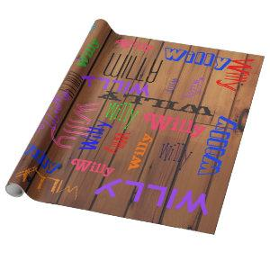 Name Collage Barn Wood Wrapping Paper