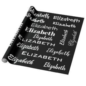 Name Initial Monogram  black  Personalized Gift Wrapping Paper
