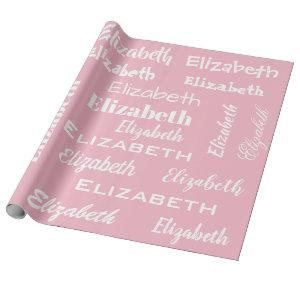 Name Initial Monogram Pink White Personalized Gift Wrapping Paper