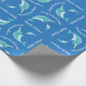 Narwhal Baby Shower Blue Boy Whale Wrapping Paper