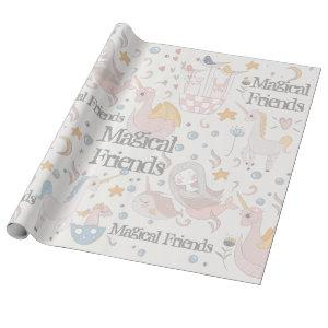 Narwhal Mermaid Unicorn Dragon Pastel Personalized Wrapping Paper