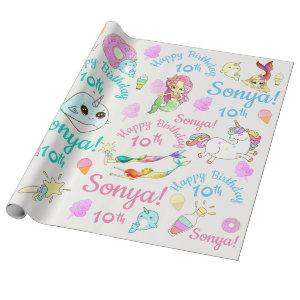 Narwhal, Mermaid, Unicorn Personalized Name, Age Wrapping Paper