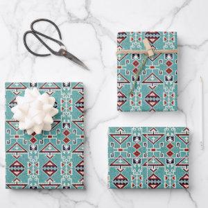 Native American Indians Navajo Pattern Wrapping Paper Sheets
