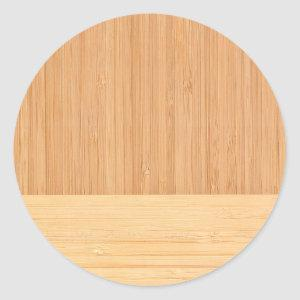 Natural Bamboo Border Wood Grain Look Classic Round Sticker