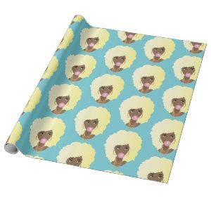 Natural Beauty | Blonde Afro | Blue Wrapping Paper