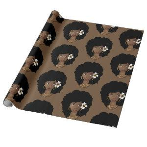 Natural Hair Beauty with Flower, Brown Wrapping Paper