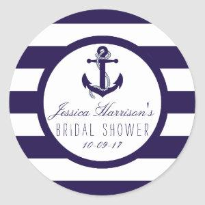 Nautical Anchor Navy Stripe Bridal Shower Favor Classic Round Sticker