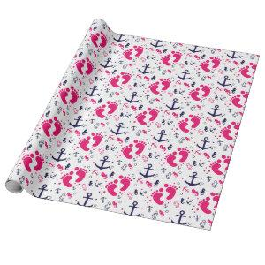 Nautical baby girl pink, navy blue wrapping paper