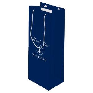 Nautical Boat Name Anchor Rope Navy Blue Wine Gift Bag
