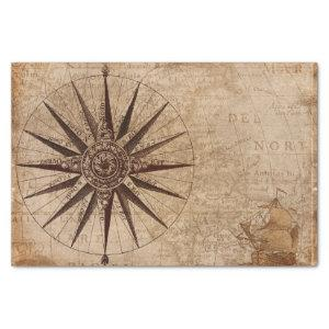 Nautical Compass Vintage Map Travel Tissue Paper