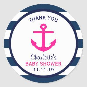 Nautical GIRL Hot Pink Navy Blue Baby Shower Favor Classic Round Sticker