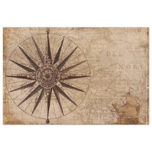 Nautical Map Sailboat Compass Decoupage Background Tissue Paper