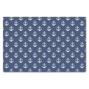 Nautical Navy Blue and White Anchor Pattern Tissue Paper