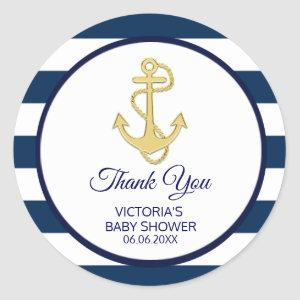 Nautical Navy Blue Gold Stripes Anchor Baby Shower Classic Round Sticker