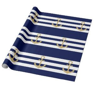 Nautical Navy Blue White Stripes Gold Anchor Wrapping Paper