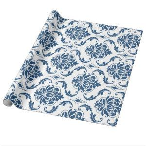 Nautical Navy Blue White Vintage Damask Pattern Wrapping Paper