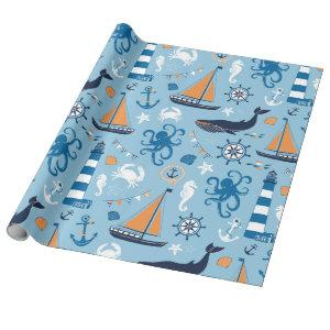 Nautical Ocean Blue and Orange Wrapping Paper