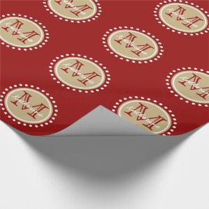 Nautical Red and Classic Khaki Polka Dot Monogram Wrapping Paper