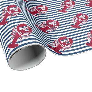 Nautical Red Lobster | Blue and White Stripe | B Wrapping Paper